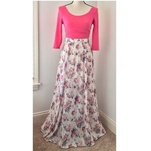 Abercrombie & Fitch Floral Skirt and Pink Crop Top
